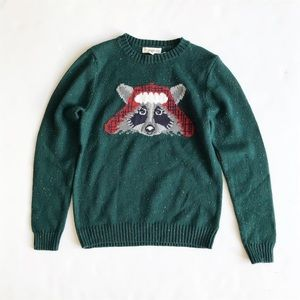 Tucker + Tate raccoon face knit sweater VGUC 7Y